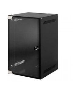 """GEMONTEERD, 10"""" 12U wandkast, gehard glazen deur, zwart, met slot, (BxDxH):280x310x596mm"""