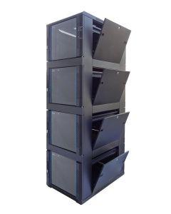 42U 19 inch Serverkast met glazen voordeur en met 4x 9U Compartiment