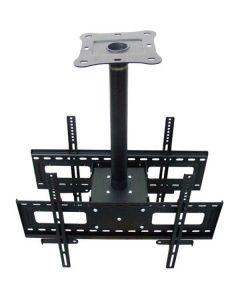 """Plafondsteun voor twee tv / monitors, ontworpen voor 37 """"of groter, max. 100kg, 100x100-600x400mm, tilt 25 °, zwart"""