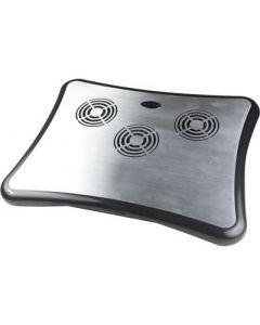 """Notebook Koeler en standaard tot 15 """", 4xUSB poorten, 3x60mm ventilatoren, aluminium / kunststof, USB, zilver / zwart"""