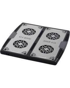 """Notebookkoeler en standaard tot 17 """" met 4x70mm fans, uitschuifbaar, aluminium/kunststof, USB, zwart / zilver"""