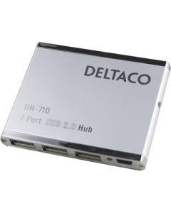 Deltaco, USB 2.0 hub, 7 poorten, slim, netadapter bijgevoegd.